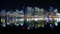 Sydney, Australia Cityscape from the Shore at Night : Time Lapse video