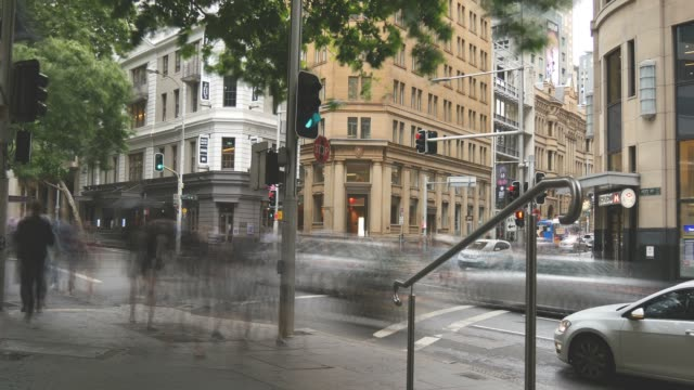 Sydney Australia establishing shot city street traffic and people time lapse video