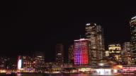 Sydney City Building Skyline Night Timelapse Vivid Festival video