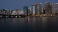 Sydney Darling Harbour skyline at dusk night video