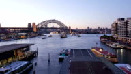 Sydney Harbour Bridge and Circular Quay dusk hyperlapse video
