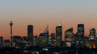 Sydney Skyline on sunset at dusk, featuring Smog over the Sydney CBD video