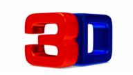 3D symbol on white background. Render image video