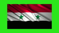 Syria flag waving,loopable on green screen video