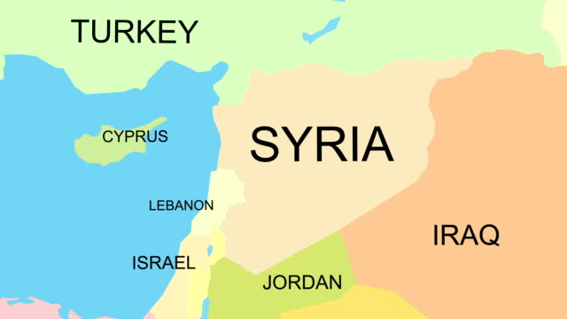 Syria map with capital, cities, neighbors, zoom in, accurate video