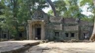 Ta Prohm temple of Angkor Wat Cambodia ancient stone ruin temple video