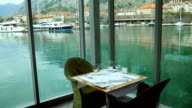 A table in restaurant near the sea, Kotor, Montenegro video