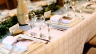 Table set for wedding or another catered event dinner video