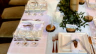 Table setting for a wedding reception or an event video