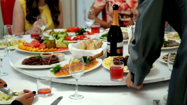 Table with food and drink video