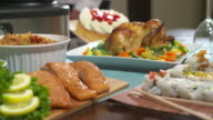Table with Food Move Toward Chicken video