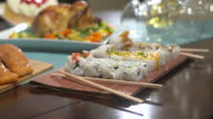 Table with Food Move Toward Sushi video