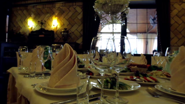 Tables in anticipation of guests. video