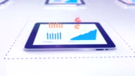 Tablet animation with charts showing growth video
