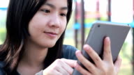 Tablet for lifestyle in playground,Bangkok Thailand video