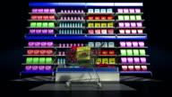 Tablet keyboard changed grocery online shop, online supermarket. shopping cart. video