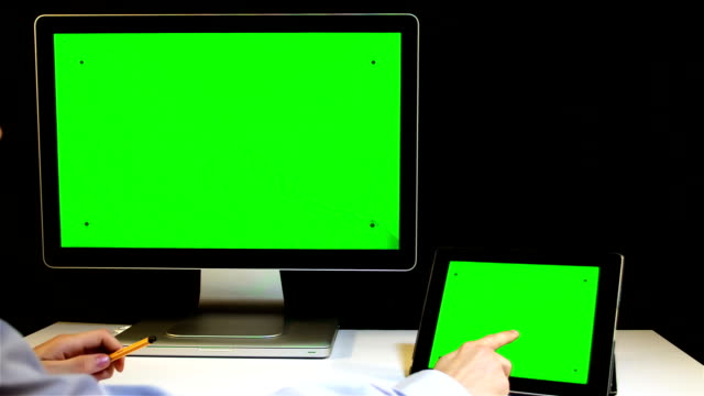 Tablet PC and Display with a Green Screen video