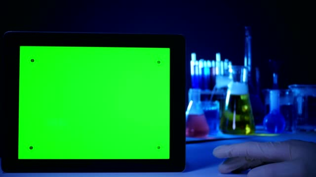 Tablet PC with a Green Screen in the Laboratory video