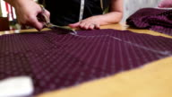 HD: Tailor Cutting Textile For A Dress video