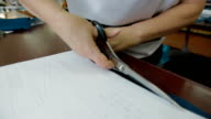 Tailor cutting the patterns with scissors video