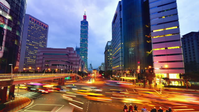 Taipei Cityscape and Taipei 101 Tower, Sunset to Night video