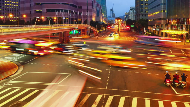 Taipei Cityscape and Traffic, Sunset to Night video