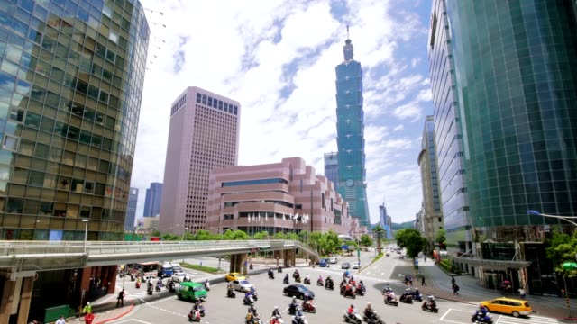 Taipei financial district at sunny day video