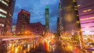 Taipei, Taiwan in rainy day video