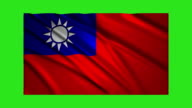 Taiwan flag waving,loopable on green screen video