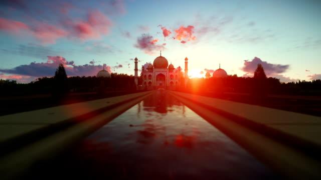Taj Mahal beautiful sunrise, camera fly video