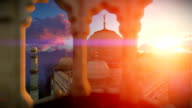 Taj Mahal, beautiful sunrise, right tower viewport video