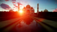 Taj Mahal beautiful sunset, camera fly video