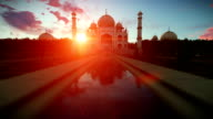 Taj Mahal, people enjoying a beautiful sunset video