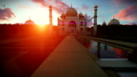 Taj Mahal, romantic couple enjoying a beautiful sunset video