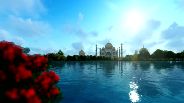 Taj Mahal with beautiful lake reflections, view from Yamuna River video