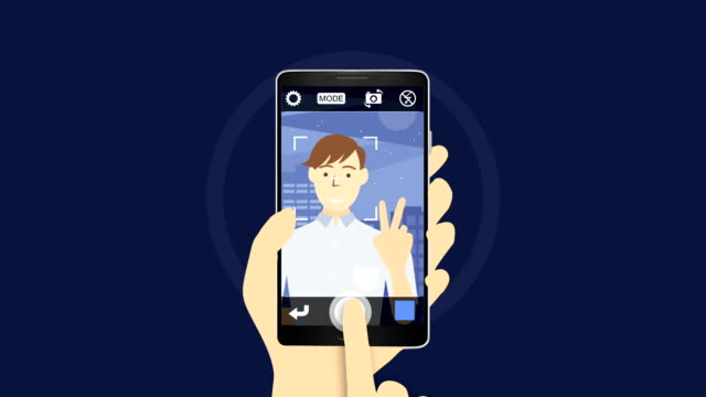 Take a pictures, selfie man's portrait, using smart phone 1 video