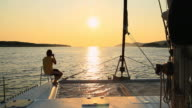 HD: Taking Photos While Sailing At Sunset video