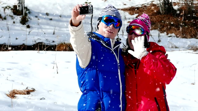 Taking pictures Selfies on snow video