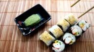 Taking Salmon Avocado and Crab Maki Sushies video