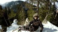 Taking selfie on mountain peak video