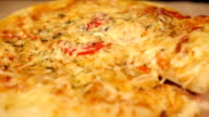 Taking Slice of Pizza with Chicken and Mushroom video