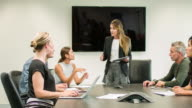 Talking in a meeting at the conference room video