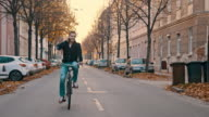 SLO MO Talking on the phone while riding a bicycle video