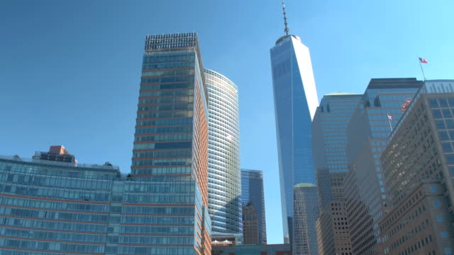 CLOSE UP: Tall glassy contemporary skyscrapers & rebuilt One World Trade Center video