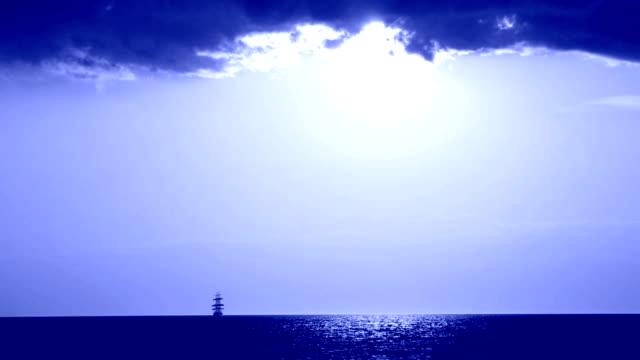 tall ship on a moonlit night video