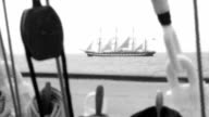 Tall ship - stylized old movie video