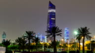 Tallest building in Kuwait City timelapse hyperlapse - the Al Hamra Tower at dusk. Kuwait City, Middle East video