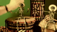 Tamtam Party with small Skeletons, celebration Mardi-Gras video