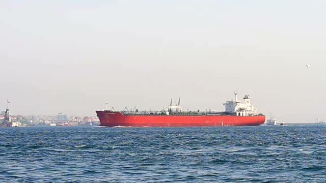 Tanker ship sailing into Bosporus Sea video