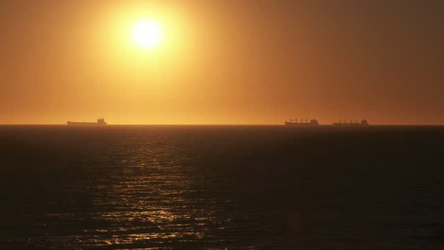 HD: Tanker Silhouettes At Sunset video